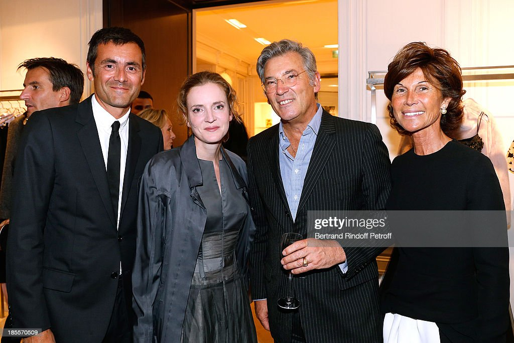 Dominique de Longevialle, Nathalie Kosciusko-Morizet, Pierre-Yves Roussel and Sylvie Rousseau attend 'Vendanges Montaigne 2013' At Dior, Avenue Montaigne on September 12, 2013 in Paris, France.