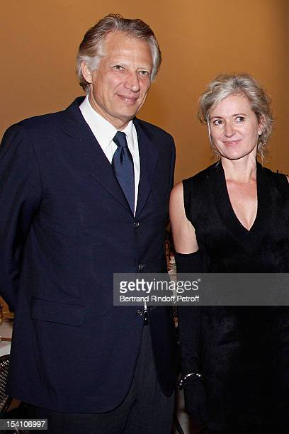 Dominique de Villepin and Anselm Kiefer's companion Renate Graf attend the opening of Thaddaeus Ropac's new gallery on October 13 2012 in Pantin...