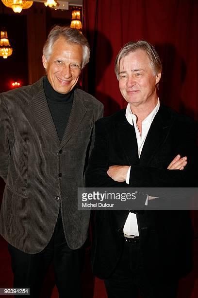 Dominique De Villepin and Denis Seznec attend the 'Seznec' Premiere at Theatre de Paris on February 3 2010 in Paris France