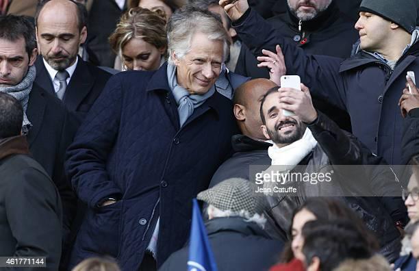 Dominique de Villepin attends the French Ligue 1 match between Paris SaintGermain FC and Evian Thonon Gaillard FC at Parc des Princes stadium on...