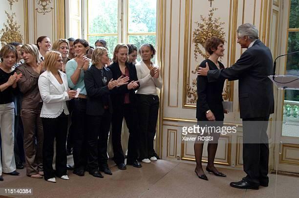 Dominique De Villepin awarded the 'Ordre national de la Legion d'honneur' Medal to Catherine Belrhiti 2 times World Karate Champion in France on...