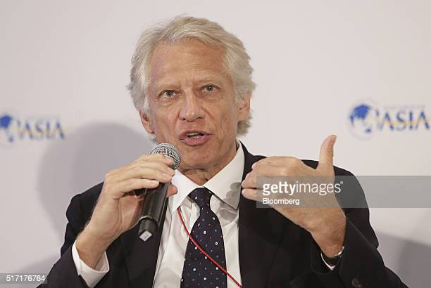 Dominique de Villepin former prime minister of France speaks during the Boao Forum For Asia Annual Conference in Boao China on Thursday March 24 2016...