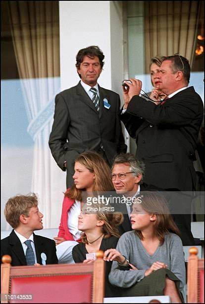 Dominique de Villepin in family attends Prix de l' Arc de triomphe the main event in the European racing season in Paris France on October 07 2001