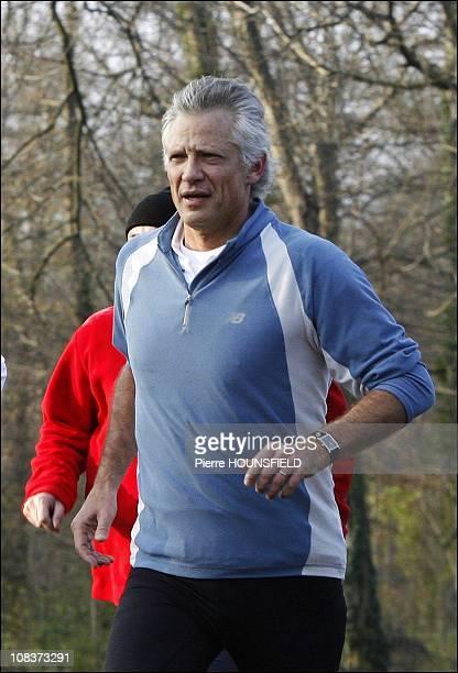 Dominique de Villepin jogging in the forest of Boulogne in Paris France on December 23 2006