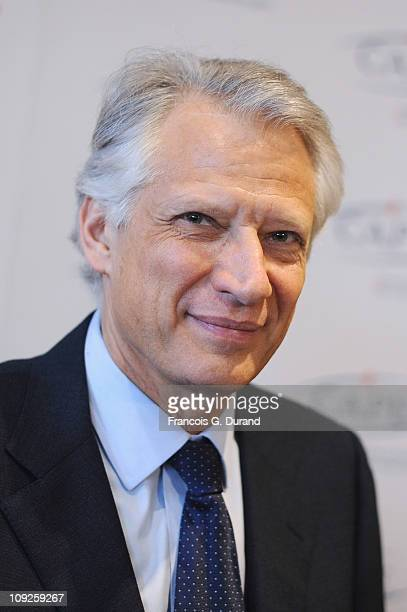 Dominique de Villepin President and founder of 'Republique Solidaire' gives a press conference at CAPE on February 18 2011 in Paris France