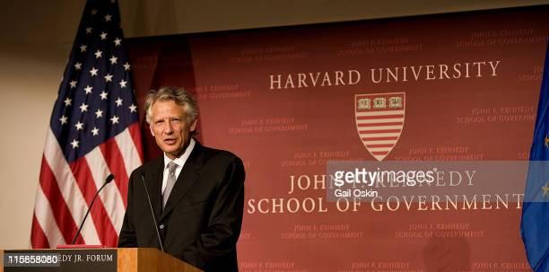 Dominique de Villepin Prime Minster of France speaks at Harvard University in Cambridge Massachusetts on March 16 2007