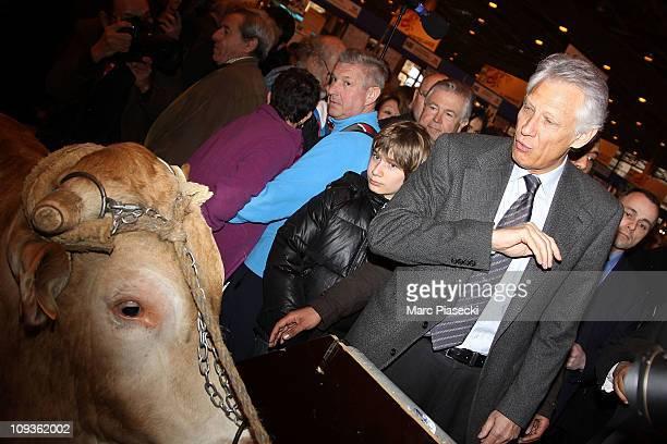 Dominique De Villepin Visits Salon de l'Agriculture at Parc des Expositions Porte de Versailles on February 23 2011 in Paris France The Salon...