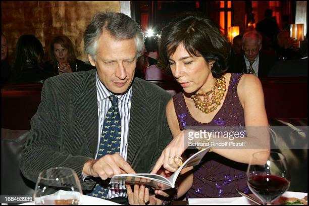 Dominique De Villepîn and Christine Orban at 100th Episode Of 'Campus' Of Guillaume Durant At Le Cafe De L'Homme Restaurant At The Trocadero