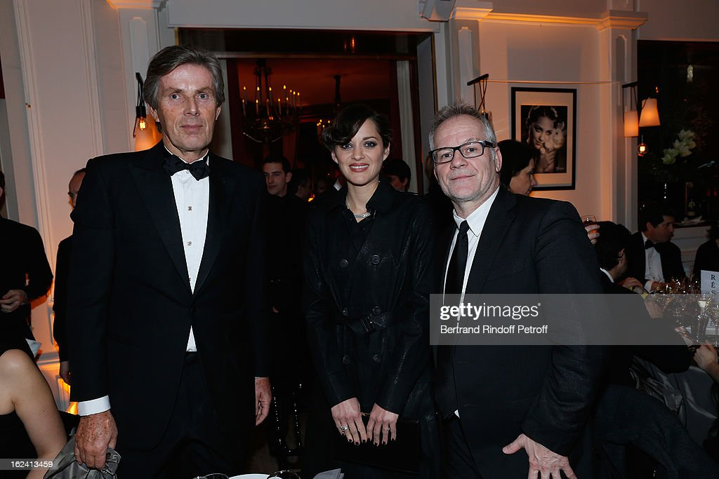 Dominique Desseigne, Marion Cotillard and Thierry Vremaux attend the Cesar Film Awards 2013 at Le Fouquet's on February 22, 2013 in Paris, France.