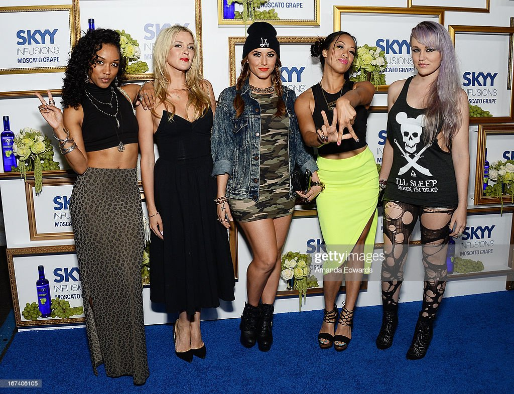 Dominique Domingo, Laura New, Jamie Ruiz, Nori Juliano and Brooke Adams of the girl band YLA arrive at the debut of The House of Moscato launch party for the new SKYY Infusions Moscato Grape Vodka at Greystone Manor Supperclub on April 24, 2013 in West Hollywood, California.