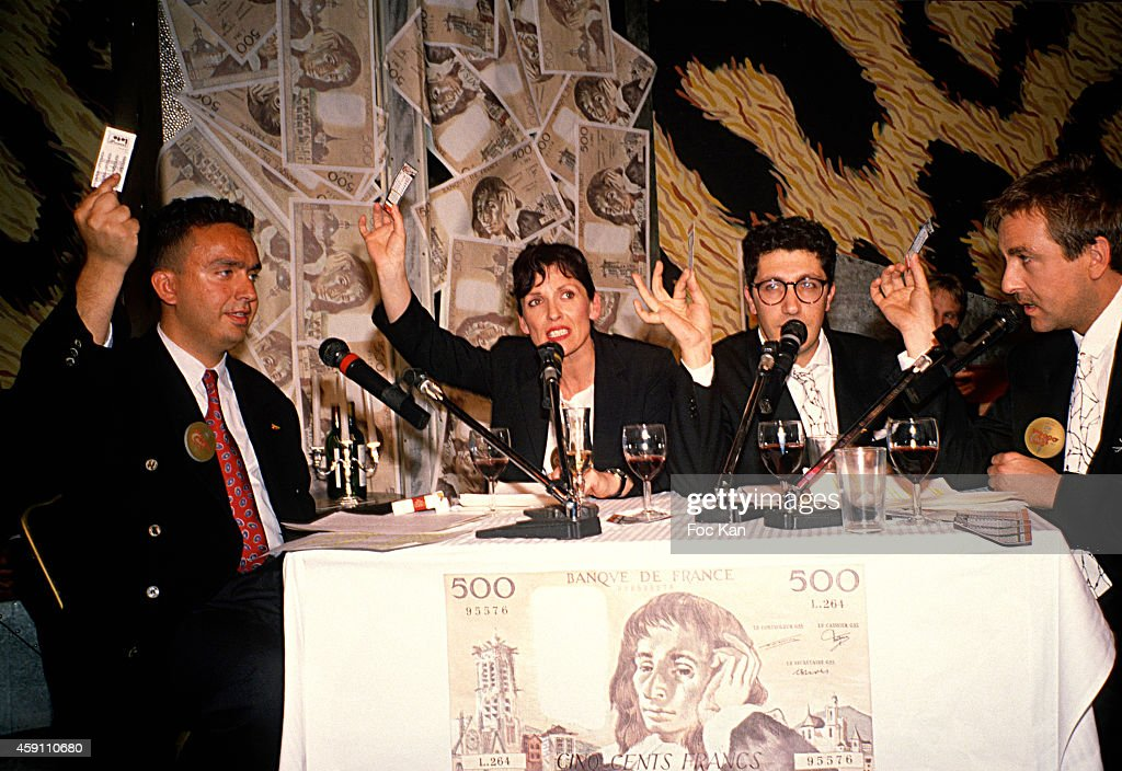 Dominique Farrugia, Chantal Lauby, Alain Chabat and Bruno Carette from Les Nuls attend a Cash money game Launch Party at Les Bains Douches in the 1990s in Paris, France.