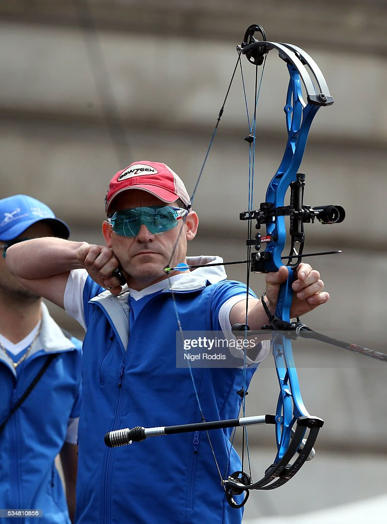 Dominique Genet of France shoots during the Mens Compound Team Bronze medal team match at the European Archery Championship on May 28, 2016 in Nottingham, England.