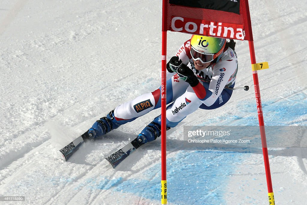 Dominique Gisin of Switzerland competes during the Audi FIS Alpine Ski World Cup Women's Downhill on January 18 2015 in Cortina d'Ampezzo Italy