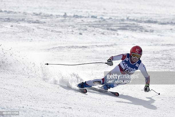 Dominique Gisin of Switzerland competes on March 1 2015 in the first run of the Fis Alpine Ski World Cup women's Alpine Combined Super G race in...