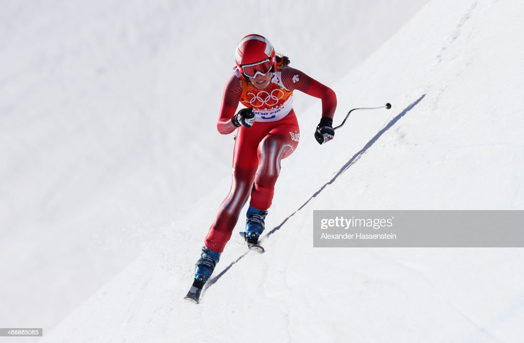 Dominique Gisin of Switzerland during the Alpine Skiing Women's Downhill on day 5 of the Sochi 2014 Winter Olympics at Rosa Khutor Alpine Center on...