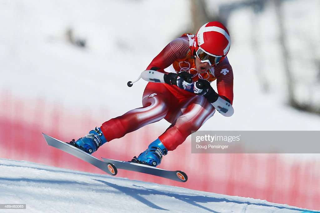 Dominique Gisin of Switzerland in action during the Alpine Skiing Women's SuperG on day 8 of the Sochi 2014 Winter Olympics at Rosa Khutor Alpine...