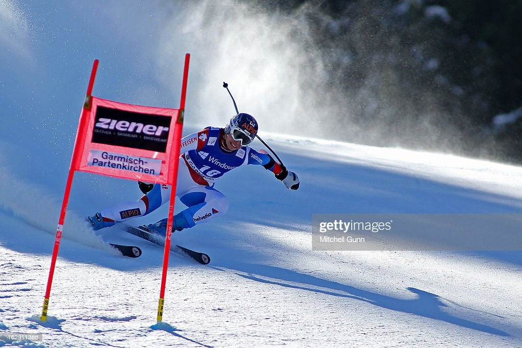 <a gi-track='captionPersonalityLinkClicked' href=/galleries/search?phrase=Dominique+Gisin&family=editorial&specificpeople=4083154 ng-click='$event.stopPropagation()'>Dominique Gisin</a> of Switzerland races down the course competing in the Audi FIS Ski World Cup Women's Super-G on March 01, 2013 in Garmisch Partenkirchen, Germany,