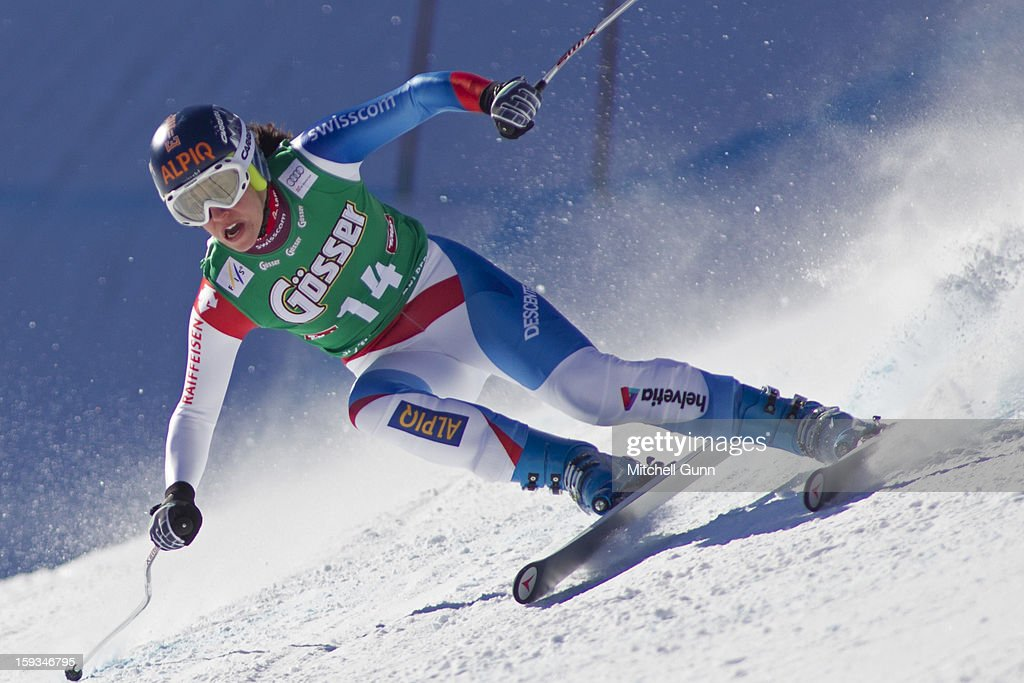 Dominique Gisin of Switzerland races down the Kandahar course while competing in the Audi FIS Alpine Ski World Cup downhill race on January 12, 2013 in St Anton, Austria.