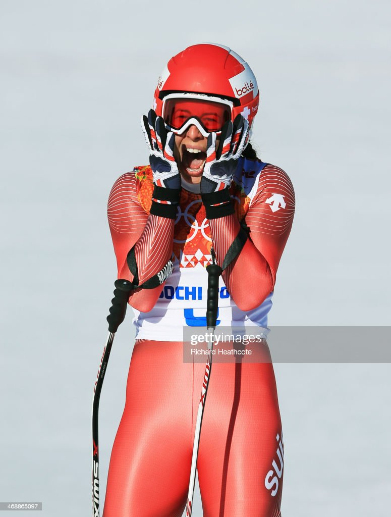 <a gi-track='captionPersonalityLinkClicked' href=/galleries/search?phrase=Dominique+Gisin&family=editorial&specificpeople=4083154 ng-click='$event.stopPropagation()'>Dominique Gisin</a> of Switzerland reacts after a run during the Alpine Skiing Women's Downhill on day 5 of the Sochi 2014 Winter Olympics at Rosa Khutor Alpine Center on February 12, 2014 in Sochi, Russia.