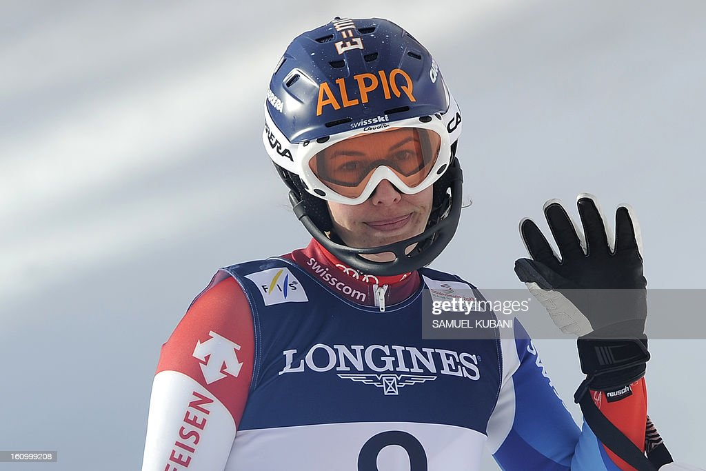 Dominique Gisin of Switzerland reacts after competing in the women's Super Combined downhill event of the 2013 Ski World Championships in Schladming, Austria on February 8, 2013.