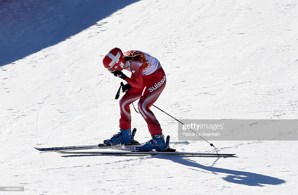 Dominique Gisin of Switzerland reacts after her run during the Alpine Skiing Women's Downhill on day 5 of the Sochi 2014 Winter Olympics at Rosa...