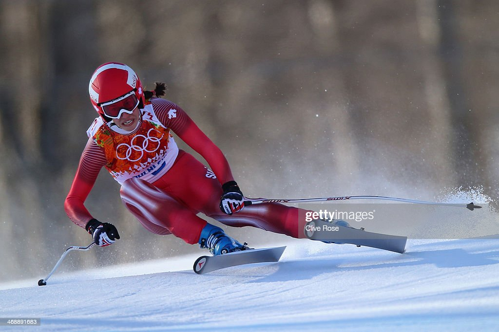Dominique Gisin of Switzerland skis during the Alpine Skiing Women's Downhill on day 5 of the Sochi 2014 Winter Olympics at Rosa Khutor Alpine Center...