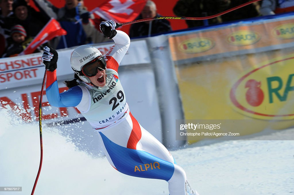 <a gi-track='captionPersonalityLinkClicked' href=/galleries/search?phrase=Dominique+Gisin&family=editorial&specificpeople=4083154 ng-click='$event.stopPropagation()'>Dominique Gisin</a> of Switzerland takes 1st place during the Audi FIS Alpine Ski World Cup Women's Super G on March 7, 2010 in Crans Montana, Switzerland.