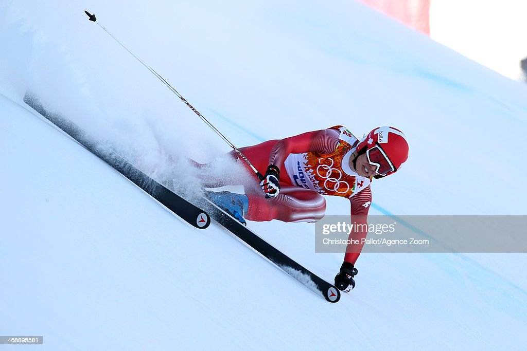Dominique Gisin of Switzerland wins joint gold during the Alpine Skiing Women's Downhill at the Sochi 2014 Winter Olympic Games at Rosa Khutor Alpine...