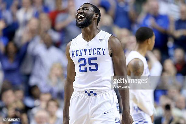 Dominique Hawkins of the Kentucky Wildcats celebrates against the Louisville Cardinals at Rupp Arena on December 26 2015 in Lexington Kentucky