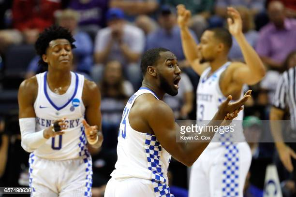 Dominique Hawkins of the Kentucky Wildcats reacts after a call late in the first half against the UCLA Bruins during the 2017 NCAA Men's Basketball...