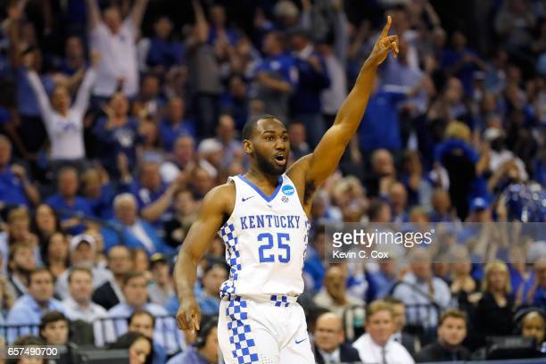 Dominique Hawkins of the Kentucky Wildcats reacts after a play in the first half against the UCLA Bruins during the 2017 NCAA Men's Basketball...
