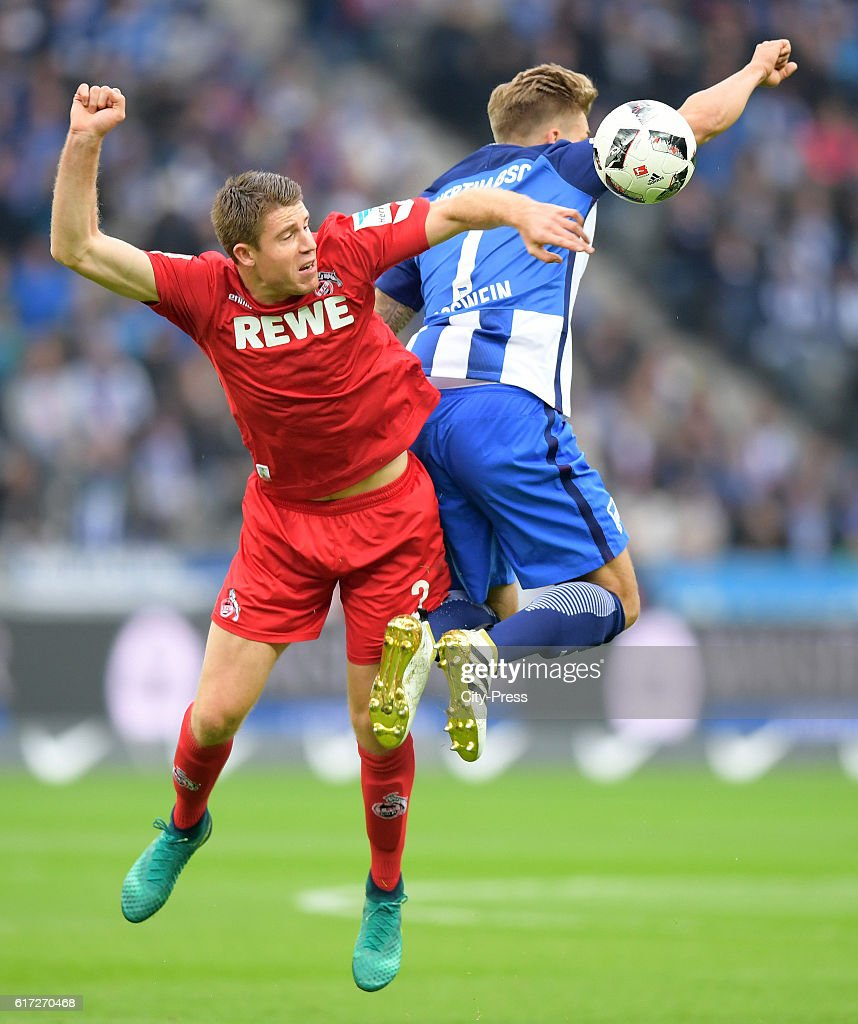 Dominique Heintz of 1. FC Koeln and Alexander Esswein of Hertha BSC during the game between Hertha BSC and dem 1. FC Koeln on October 22, 2016 in Berlin, Germany.