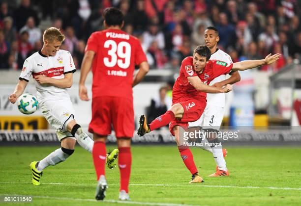 Dominique Heintz of 1FC Koeln scores a goal during the Bundesliga match between VfB Stuttgart and 1 FC Koeln at MercedesBenz Arena on October 13 2017...