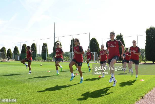 Dominique Janssen and Danielle van de Donk of Arsenal Women during an Arsenal Women Training Session at London Colney on August 25 2017 in St Albans...