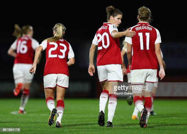 Dominique Janssen and Vivianne Miedema in action during the FA Women's Super League Continental Cup match between Arsenal and London Bees on October...