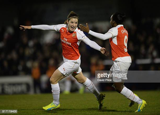 Dominique Janssen celebrates scoring Arsenal's 1st goal with Danielle Carter during the match between Arsenal Ladies and Reading FC Women on March 23...