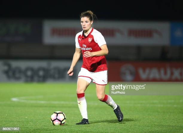 Dominique Janssen of Arsenal during The FA WSL Continental Tyres Cup match between Arsenal against London Bees at Meadow Park Borehamwood FC on 12...