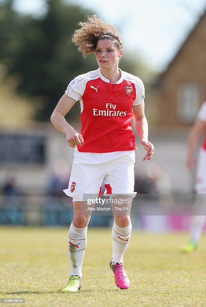 <a gi-track='captionPersonalityLinkClicked' href=/galleries/search?phrase=Dominique+Janssen&family=editorial&specificpeople=8545890 ng-click='$event.stopPropagation()'>Dominique Janssen</a> of Arsenal during the WSL match between Arsenal Ladies and Birmingham City Ladies at Meadow Park on May 1, 2016 in Borehamwood, England.