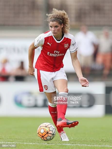 Dominique Janssen of Arsenal during the WSL match between Arsenal Ladies and Liverpool Ladies at Meadow Park on July 31 2016 in Borehamwood England