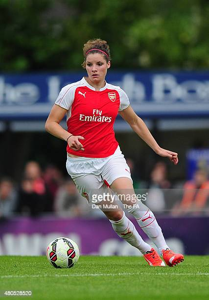 Dominique Janssen of Arsenal in action during the WSL match between Arsenal Ladies and Liverpool Ladies at Meadow Park on July 12 2015 in Borehamwood...