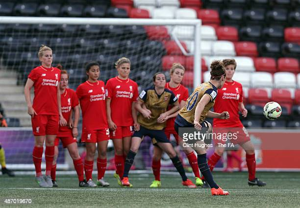 Dominique Janssen of Arsenal Ladies FC scores the first goal of the game for her side from a free kick during the FA WSL 1 match between Liverpool...