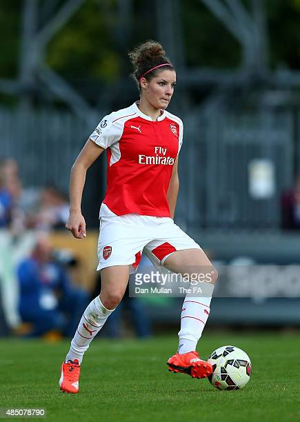 Dominique Janssen of Arsenal Ladies in action during the FA WSL match between Arsenal Ladies and Chelsea Ladies at Meadow Park on August 23 2015 in...