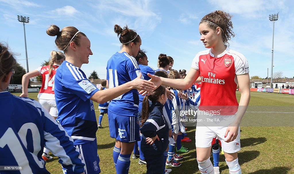 <a gi-track='captionPersonalityLinkClicked' href=/galleries/search?phrase=Dominique+Janssen&family=editorial&specificpeople=8545890 ng-click='$event.stopPropagation()'>Dominique Janssen</a> of Arsenal shakes hands with Birmingham players prior to the WSL match between Arsenal Ladies and Birmingham City Ladies at Meadow Park on May 1, 2016 in Borehamwood, England.