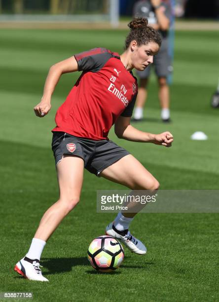 Dominique Janssen of Arsenal Women during an Arsenal Women Training Session at London Colney on August 25 2017 in St Albans England