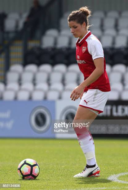 Dominique Janssen of Arsenal Women during Women's Super League 1 match between Arsenal Women against Birmingham City Ladies at Borehamwood Football...