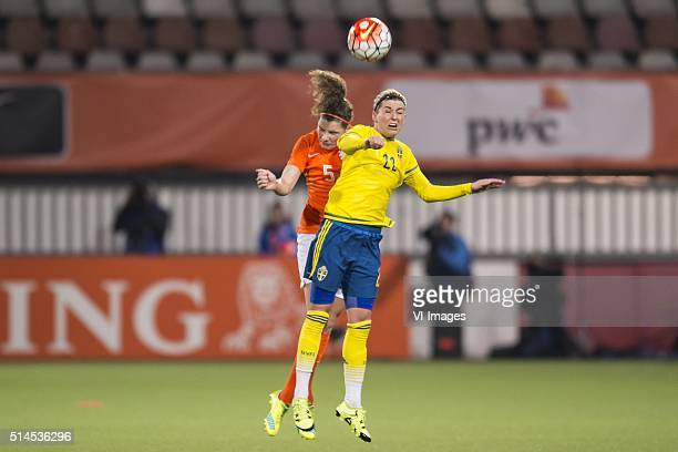 Dominique Janssen of the Netherlands Olivia Schough of Sweden during the 2016 UEFA Women's Olympic Qualifying Tournament match between Netherlands...