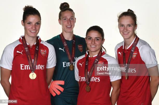 Dominique Janssen Sari van Veenendaal Danielle van de Donk and Vivianne Miedema of Arsenal Women with their European Championships Winners Medals...