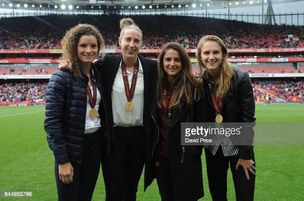 Dominique Janssen Sari van Veenendaal Danielle van de Donk and Vivienne Miedema of Arsenal Women with their European Championships winning medals...