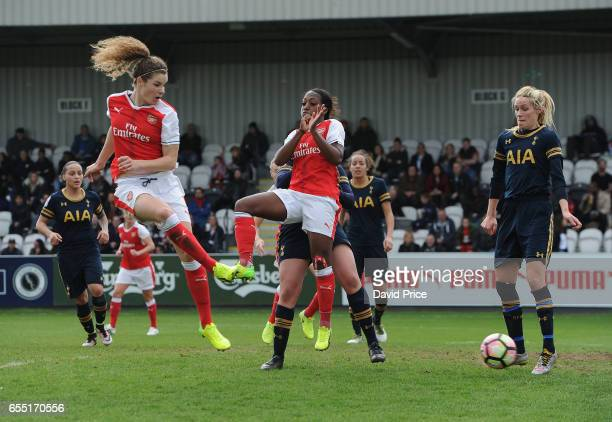 Dominique Janssen scores a goal for Arsenal during the match between Arsenal Ladies and Tottenham Hotspur Ladies on March 19 2017 in Borehamwood...