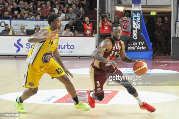 Dominique Johnson of Umana competes with Lamar Patterson of Fiat during the LBA LegaBasket of Serie A match between Reyer Umana Venezia and Auxilium...